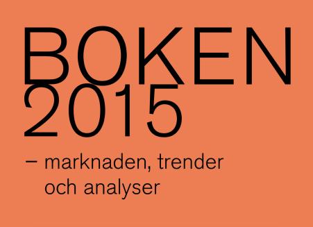 Texten BOKEN 2015 - marknaden, trender och analyser i svart på orange bakgrund
